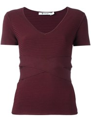 Alexander Wang T By Ribbed Scoop Neck Top Red