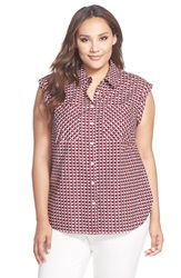 Sejour Print Sleeveless Cotton Shirt Plus Size Red Navy Plaid