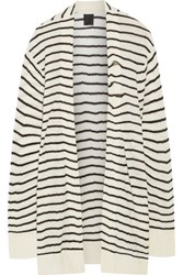 Rta Serge Striped Open Knit Cashmere Cardigan Cream