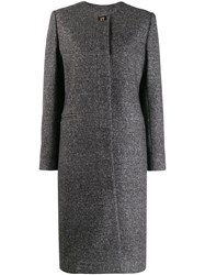 Salvatore Ferragamo Houndstooth Single Breasted Coat Grey