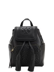 Tory Burch Fleming Mini Quilted Leather Backpack Black