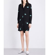Diane Von Furstenberg Bird Print Stretch Silk Shirt Dress Ceres Black Black