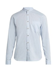 Orley Raw Edge Granddad Collar Cotton Shirt Light Blue