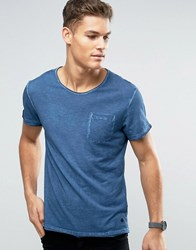 Casual Friday Washed T Shirt With Pocket Sky Blue
