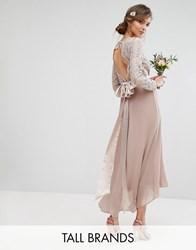 Tfnc Tall Wedding Lace Midi Dress With Bow Back Mink Pink