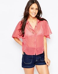 Liquorish Blouse With Fluted Sleeves Pink