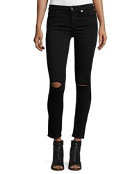 7 For All Mankind The Ankle Skinny Ripped Jeans B Air Black