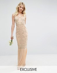 Maya Embellished Maxi Dress With Fishtail Nude Pink