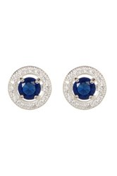 Savvy Cie Rhodium Plated Sterling Silver Sapphire Halo Earrings White
