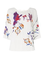 Biba Parrot Placement Embroidered Blouse White