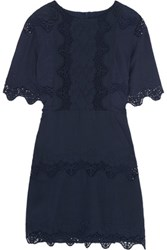 W118 By Walter Baker Flora Broderie Anglaise Cotton Mini Dress Navy