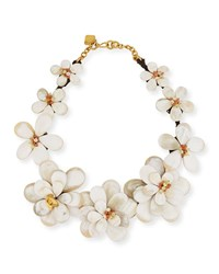 Ashley Pittman Light Horn Flower Collar Necklace With Stones Neutral Pattern