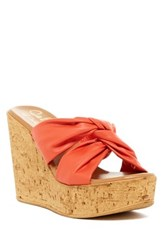 Callisto 'Rachel' Knotted Strap Wedge Sandal Women Orange