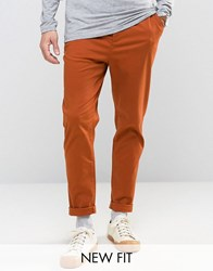 Asos Tapered Chinos In Rust Leather Brown