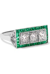 Fred Leighton Art Deco 18 Karat White Gold White Gold Emerald