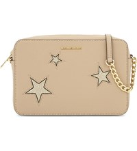 Michael Michael Kors Glitter Star Large Saffiano Leather Cross Body Oyster Gold