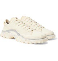 Raf Simons Adidas Originals Detroit Runner Rubber Trimmed Canvas Sneakers Ecru