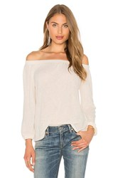 Velvet By Graham And Spencer Zinnia Off The Shoulder Long Sleeve Top White