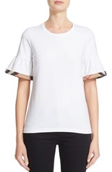 Burberry Women's Check Trim Bell Sleeve Tee