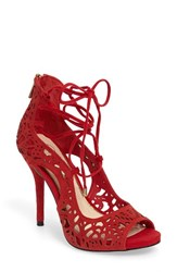 Jessica Simpson Women's Briony Perforated Ghillie Sandal Lipstick Suede