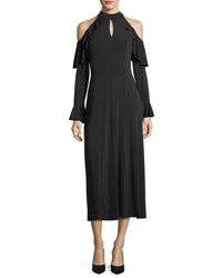 London Times Cold Shoulder Ruffle Sleeve Gown Black