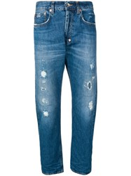 Haikure Distressed Straight Leg Jeans Blue