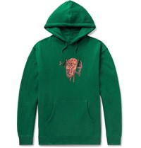 Iggy Printed Fleece Back Cotton Blend Jersey Hoodie Green
