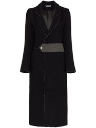 Lot 78 Lot78 Raw Edge Back Split Wool Blend Coat Blue