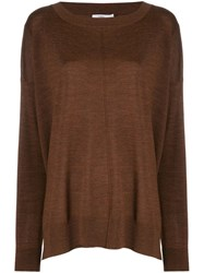 Closed Boat Neck Sweatshirt Brown