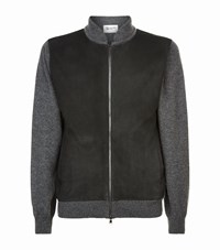Johnstons Suede Front Cashmere Cardigan Grey