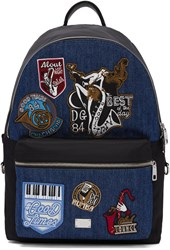 Dolce And Gabbana Black Blue Denim Patches Backpack