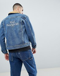 Huf Brooklyn Denim Jacket With Embroidered Back Blue