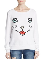 Wildfox Couture Happy Cat Graphic Pullover Clean White