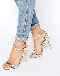 Call It Spring Staval Heeled Strappy Ankle Wrap Sandal Gold