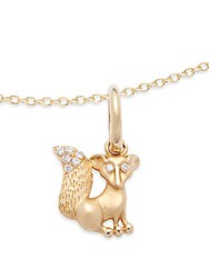 Temple St. Clair Diamond And 18K Yellow Gold Sitting Fox Pendant