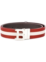 Bally Letter Buckle Striped Belt Men Cotton Leather 90 Red