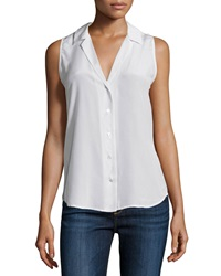 Equipment Adalyn Sleeveless Button Front Top White Pattern