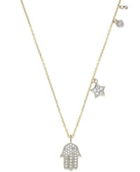 Yellora Diamond Hamsa Drop Pendant Necklace In Yellora 1 4 Ct. T.W.