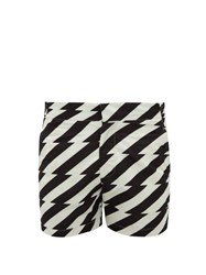 Frescobol Carioca Pepe Zigzag Print Technical Swim Shorts Black