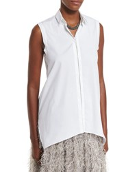 Brunello Cucinelli Sleeveless Poplin Monili Trim Blouse White