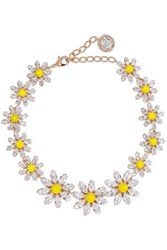 Dolce And Gabbana Gold Tone Enamel Crystal Necklace One Size