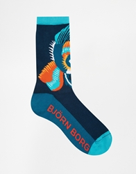 Bjorn Borg Placed Dragon Bird Socks Blue