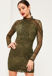 Missguided Premium Khaki Structured High Neck Lace Mini Dress