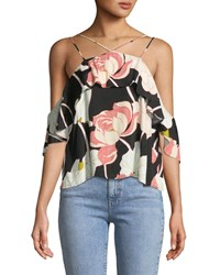 Cupcakes And Cashmere Bixby Strappy Off The Shoulder Floral Print Top Multi