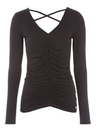 Jane Norman Black Ruched Cross Back Top