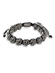 King Baby Studio Rose And Macrame Bracelet Black