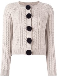 Chinti And Parker Aran Pom Pom Cardigan Nude And Neutrals