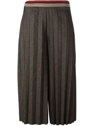 Aviu Pleated Cropped Trousers Brown