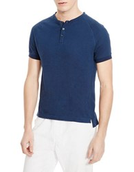 Kenneth Cole Cotton Henley Tee Laguna Blue