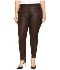 Nydj Plus Size Alina Legging Jeans In Faux Leather Coating In Mahogany Brown Leather Coating Mahogany Brown Leather Coating Women's Jeans